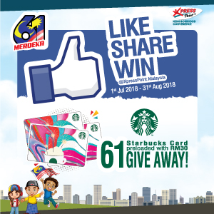 1 July 2018 – 31 August 2018<br><p>61 Starbucks Card preloaded with RM30 Giveaway!</p>