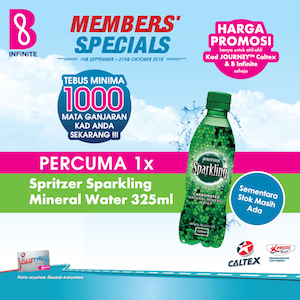 1 September – 31 October 2018<br><p>Redeem a FREE Spritzer Sparking Mineral Water today!</p>